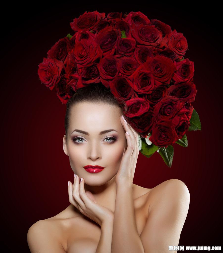 头戴玫瑰花的性感美女