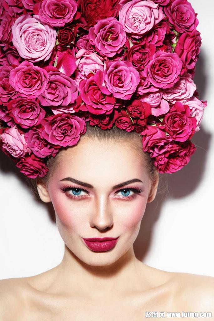 大朵玫瑰花彩妆美女
