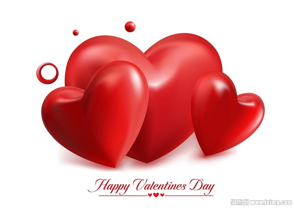 红色爱心情人节背景