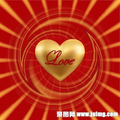 金色爱心情人节背景