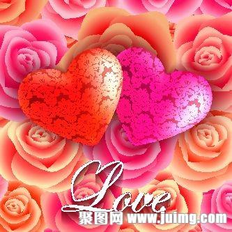 爱心鲜花情人节背景