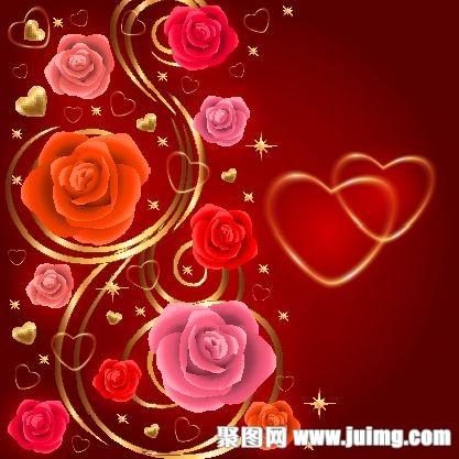 玫瑰鲜花情人节背景