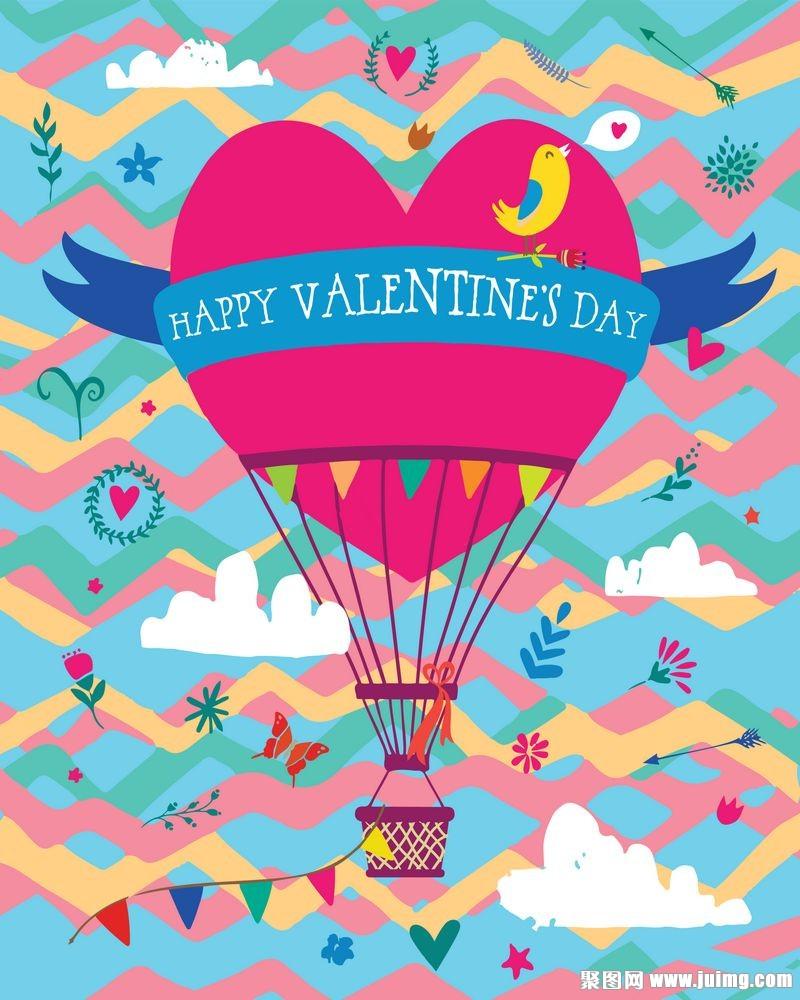 卡通热气球情人节背景