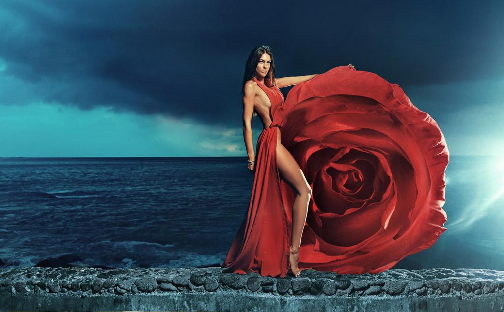 玫瑰花长腿美女